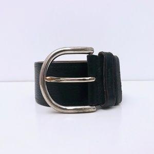 PRADA black leather belt wide pebble